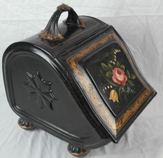 Antique Coal Hod Scuttle w/ Painted Floral Front - Metal w/ Cast Iron Handle - Purchased at auction for $87.  Sold six months later for $244.
