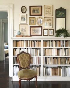 The Lesson Room gallery wall is complete. And the fashion plate ladies are chatting it up now that they have regained their place of… Bureau Design, Home Libraries, Living Spaces, Living Room, Interior Decorating, Interior Design, Cheap Home Decor, Home Decor Inspiration, Home Fashion