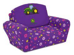 Girl's John Deere Flip Open Sleepover Sofa - Kid's Flip Open Sleepover Sofas