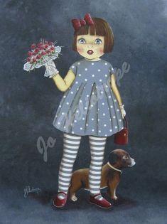"""Jo Héliotrope artiste peintre français huile sur toile 2007 """"Manon et son chien"""""""