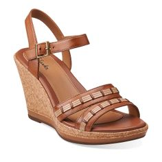 Pitch Cocoa in Tan Leather - Womens Sandals from Clarks