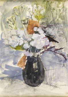 Anne Redpath - Jug of Flowers, 1950, watercolour and gouache over pencil