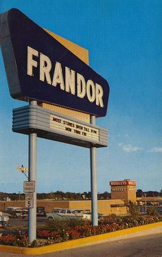 Frandor Shopping Center - East Lansing, Michigan  This is the North entrance sign of the largest shopping center in central Michigan. Located near East Lansing, the center offers the services of 50 stores and free parking area for 3,000 cars.