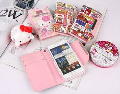 More cute and stylish personality with thisHello Kitty Character Galaxy Note Adorable Card Diary Leather Smartphone Case.