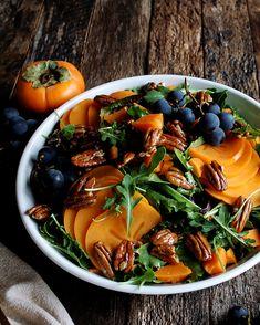 Persimmon & Arugula Salad with Maple Mustard Vinaigrette, the perfect Thanksgiving salad - The Original Dish, www.theoriginaldish.com