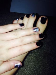 Matching medi and pedi using blackjack and topcoat by Revlon also pure Ices dazzle me and maybellines silver stunner
