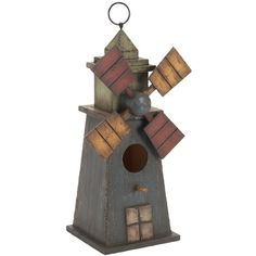 Birdhouse with a windmill silhouette.Product: Birdhouse Construction Material: Wood Color: Multi Dimensions: H x W x D Cleaning and Care: Wipe clean with cloth Home Decor Items, Home Decor Accessories, Windmill Decor, Wooden Windmill, Birdhouse Designs, Birdhouse Ideas, Countryside Style, Spool Tables, Wooden Bird Houses