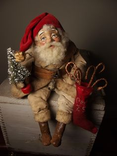 Handmade Little Sitting Santa Claus By Kim Sweet~Kim's Klaus~Ooak Vintage Antique Christmas Folk Art Doll