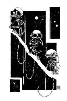 """The 3 Wise Marmosets"", Marmoset Skeletons Study Sumi Ink, Anatomy Drawing, Ink Painting, 3 Things, Skull Art, Fountain Pen, Skeleton, Digital Art"
