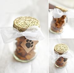 Chic Sprinkles: Holiday Gift: DIY Treat Jar  I I like this jar a lot but not so sure about using glitter on a food jar....would have to think of another type of top idea