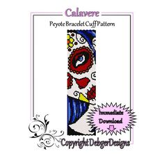Calavere  Beaded Peyote Bracelet Cuff Pattern by FUNPATTERNDESIGNS, $4.50