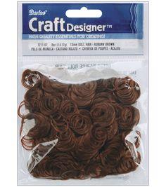 Darice Curly Doll Hair 1/2 Ounce-Auburn Brown