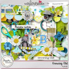 Growing Old digital scrapbooking kit from HappyNess Creation. Time goes by so quickly, it's time for kids to go to school for the first time and this kit is for all children who are growing up and go through life is happy faces. With these bright colors your layouts will pop.