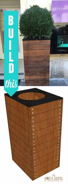 Build this simple but elegant tall wooden planter for $50 or less following this detailed building plan and tutorial. The planter is 3 feet tall and perfect for an entryway.