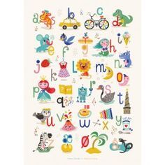 By+MIMI'S+CIRCUS:+Mimi's+ABC+plakat+By+Helen+Dardik+(50+x+70+cm)+