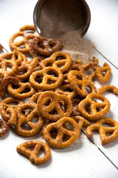 Sweet, salty, crunchy and so irresistible! Cinnamon Sugar Pretzels are simple to make with only 4 ingredients. They will be your favorite dessert, appetizer or snack in no time!