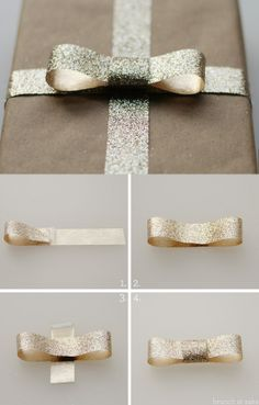 Creating the Perfect Bow with Glitter Ribbon.