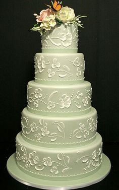 Incredible Light Mint Green Wedding Cake Featuring Hand Painted Daisy Design, Accompanied By Sugar Flowers & Butterfly At The Top~