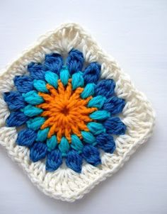 Hooked on crochet: Granny square / Quadradinho de crochê