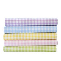 Yellow gingham sheets.