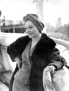 Jeanne Crain on the deck of the SS Cristoforo Colombo as she sails for Rome, March 1961