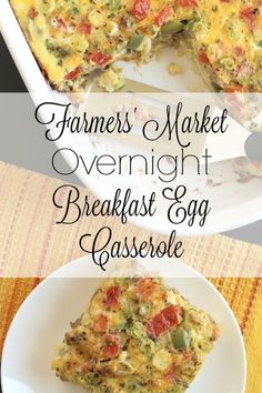 Farmer's market Breakfast casserole- Loaded with bountiful veggies, this hearty egg bake will keep you full without weighing you down! Great for holiday brunches or make-ahead breakfasts! Egg Bake Casserole, Overnight Breakfast Casserole, Overnight Egg Bake, Farmers Casserole, Brunch Casserole, Casserole Recipes, Veggie Breakfast Casserole, Breakfast Egg Bake, Sausage Breakfast