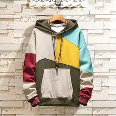 Mens Plus Velvet Colorblock Pullover Sweatshirt Hooded – Fancysway Swag Outfits, Cool Outfits, Casual Outfits, Men Casual, Vegas Outfits, Woman Outfits, Party Outfits, Stylish Men, Trendy Hoodies