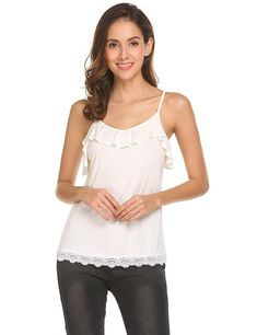 ccddb3a4f6a4ad Womens V-Neck Lace Camis Sexy Loose Tank Top - White - CB18C2TKSUI