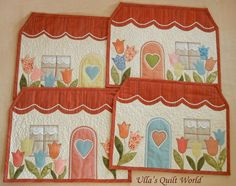 Quilted table mats - houses
