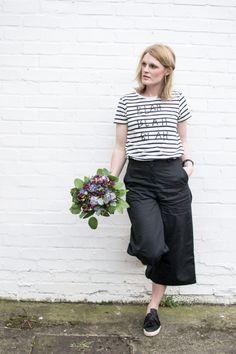 People Tree. Blah Blah Stripe Tee. Lucinda Cropped Wide Leg Trousers. SS17. www.peopletree.co.uk