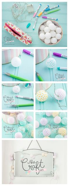 I LOVE this super simple DIY tutorial that shows you how to make polka dot party lights out of ping pong balls and Sharpie pastel paint pens. It's a great project if you love to add a little whimsy to… Continue Reading → Diy Craft Projects, Crafts For Kids, Diy Crafts, Cool Diy, Easy Diy, Simple Diy, Super Simple, Fun Diy, Ping Pong Lights