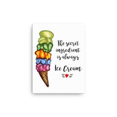 Creative Design, Print Design, Ice Cream, Canvas Prints, Unique Jewelry, Handmade Gifts, Etsy, Shirt, Decor