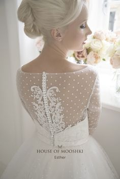 Wedding Dresses Ball Gown, Fabulous Polka Dot Tulle & Satin Bateau Neckline A-Line Tea-Length Wedding Dresses With Lace Appliques MagBridal Bridal Gowns, Wedding Gowns, Wedding Bride, Lace Sleeves, Dresses With Sleeves, Fairytale Bridal, Illusion Neckline, Bateau Neckline, Tea Length Wedding Dress