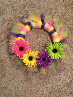 Another spring tulle wreath #pink #yellow #purple #green