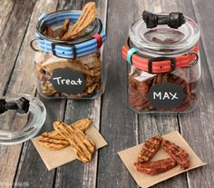Dog treat jar DIY. Mason jars used as dog treat jars. Mason jar craft idea to make dog treat jars. Easy DIY project with complete instructions.