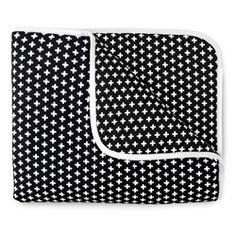 OLLI+LIME Crib Quilt - Cross Black | Canada | Toronto | Vancouver | Now that we've got your attention we'd like to introduce you to this boldly graphic Crib Quilt by Olli + Lime in black cross print. This crib quilt is made with 100% cotton and polyfill insert. It's machine washable, can be thrown in the dryer and can be iron pressed too. | #cribquilt #crossquilt #crossblanket #blackandwhite #monochromebaby #scandistyle