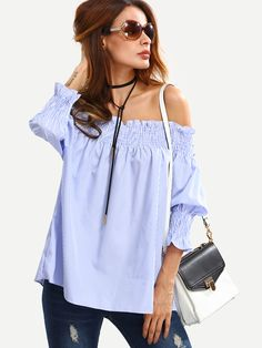 Shop Shirred Off-The-Shoulder Vertical Striped Blouse - Blue online. SheIn offers Shirred Off-The-Shoulder Vertical Striped Blouse - Blue & more to fit your fashionable needs.