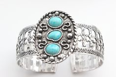 Silver and Turquoise Cuff Bracelet - Sarah Coventry Indian Maiden 1970's…