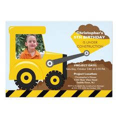 Construction trucks Photo Birthday Party for boys Card