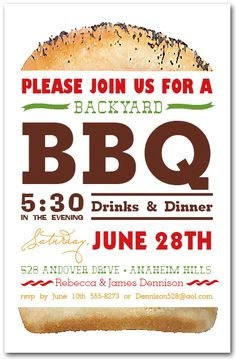 barbecue invitation bbq invite printed summer party invitation