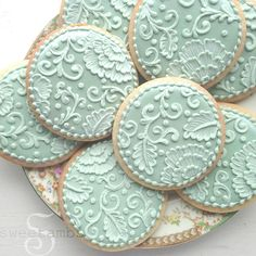 Brush Embroidery and Filigree Cookie.  Amanda, chocolate chip cookies & decorated cookies for the dessert table?