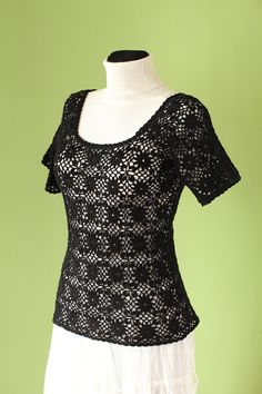 Crochet blouse Black blouse Handmade Cotton by AlicjaCollection
