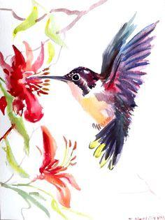 Hummingbird original watercolor painting 123 X 9 by ORIGINALONLY, $28.00