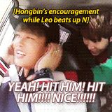 Hongbin's encouragement while Leo beats up N