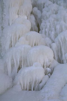 Frozen dips of water have helped create mushroom-like ice formations seen along the Apostle Islands National Lakeshore at Lake Superior in Wisconsin. (Pioneer Press: Andy Rathbun)