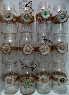 12 Mason Jar Wedding Mint Coral Pink Cream Decorations Shabby Country Chic  #BurlapBrides