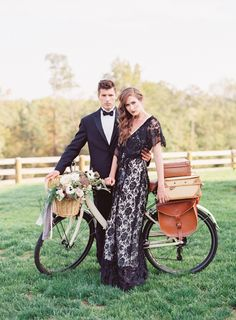 Vintage wedding inspiration: Bride and groom with a vintage bicycle. Bouquet by Holly Heider Chapple Flowers, Ltd. Vintage black lace dress from Gossamer Vintage. Image by Jodi Miller Photography at Shadow Creek in Purcellville, VA.