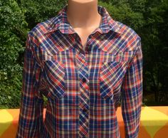 vintage 70s western blouse RAINBOW plaid blue by skippyhaha