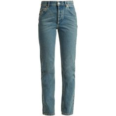 Balenciaga Genuine straight-leg jeans ($635) ❤ liked on Polyvore featuring jeans, denim, high rise straight leg jeans, balenciaga, balenciaga jeans, blue denim jeans and straight leg jeans