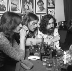 Pink Floyd's Richard Wright, David Gilmour, Nick Mason, after the concert (Atom Heart Tour) in Hamburg, Germany, 1971.